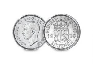 george vi silver sixpence 1 300x208 - George VI Silver Sixpence