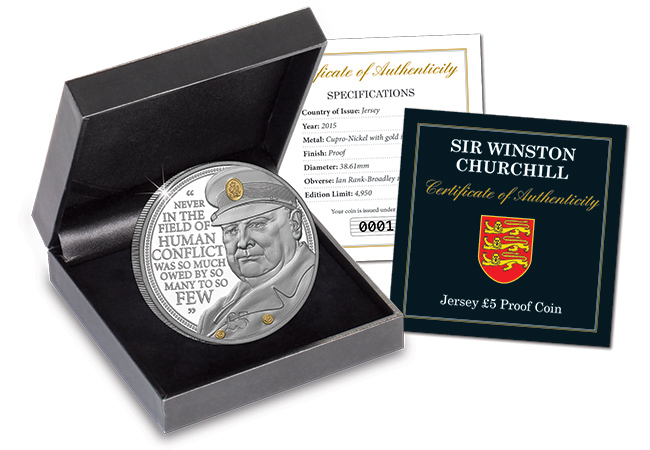The Winston Churchill £5 Proof Coin Boxed