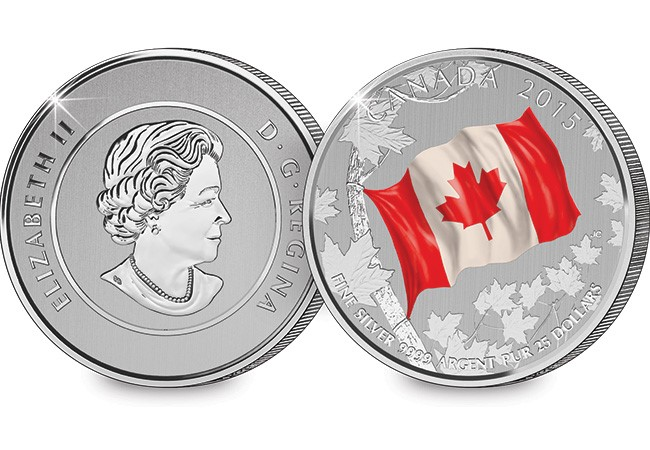 ca 1 - 2015 $25 Fine Silver Canadian Flag Coin
