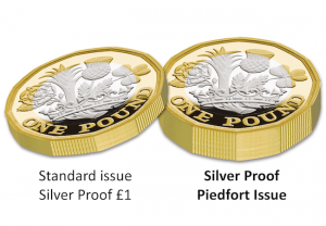 nations of the crown silver proof piedfort 1 pound coin flat comparison 300x208 - The double-thickness Silver Proof Piedfort 12-Sided £1 Coin