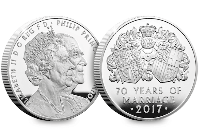 platinum wedding uk 5oz silver proof coin obverse reverse - New United Kingdom £5 coin released to celebrate the Queen's 70th Wedding Anniversary