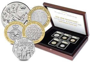 2018 UK Datestamp case 5 coins 300x208 - Revealed: The Royal Mint UK commemorative coin designs for 2018