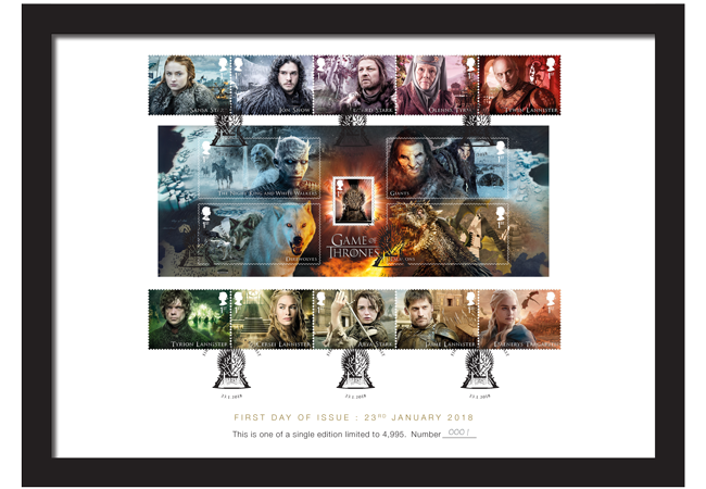Game of Thrones A4 Framed Card mock up 1 - FIRST LOOK: World's first ever Game of Thrones Stamps just revealed