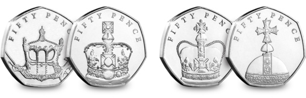 four coins - Brand New British Isles 50p marks the Queen's 65th Coronation Anniversary
