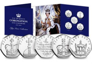 sapphire coronation 300x208 - Brand New British Isles 50p marks the Queen's 65th Coronation Anniversary