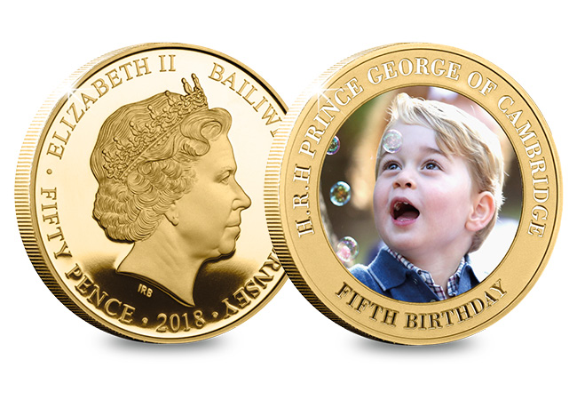 DN Prince George Fifth Birthday Guernsey Gold Plated Five Coin Set product pages5 - Happy Birthday Prince George