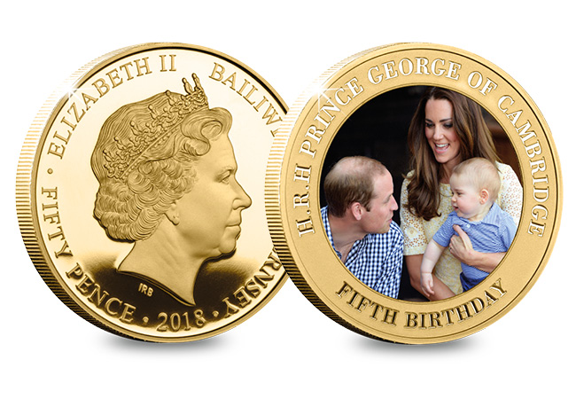 DN Prince George Fifth Birthday Guernsey Gold Plated Five Coin Set product pages8 - Happy Birthday Prince George