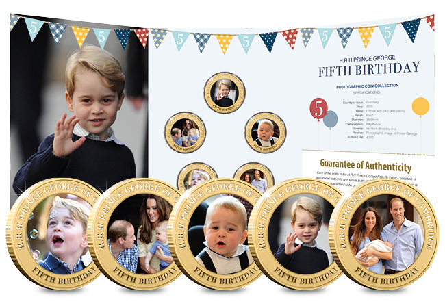 DN Prince George Fifth Birthday Guernsey Gold Plated Five Coin Set product pages9 - Happy Birthday Prince George