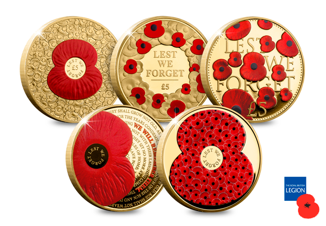 RBL 2018 Poppy CuNi Collection coin reverses - Supporting The Royal British Legion