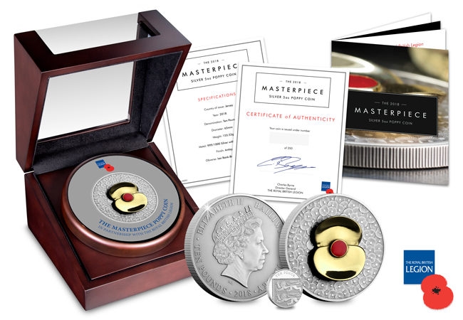 RBL 2018 Poppy Masterpiece 5oz Silver Coin Group - 100 Poppies, 100 years – Creating a masterpiece.