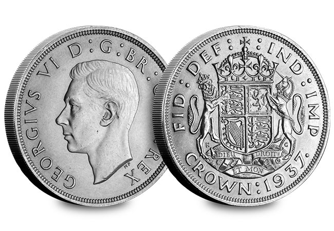 UK George VI Crown Pair 1937 Crown Obverse Reverse - The First and the Last: George VI's two Crown coins