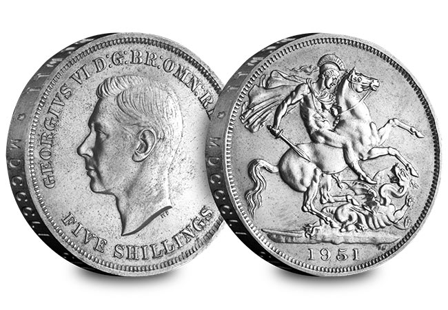 UK George VI Crown Pair 1951 Crown Obverse Reverse - The First and the Last: George VI's two Crown coins