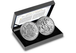 UK George VI Crown Pair in Display Case 300x208 - The First and the Last: George VI's two Crown coins