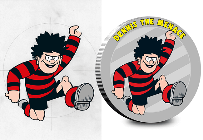 AT Beano Silver Plated Medals Blog Dennis 1 - BIFF! BOP! THUDD! Own an original piece of Beano artwork on the NEW Silver-Plated Commemorative