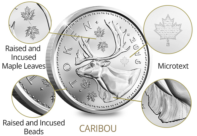 Canada Security Test Token Set Caribou Features - A sneak peek at next generation coinage courtesy of The Royal Canadian Mint