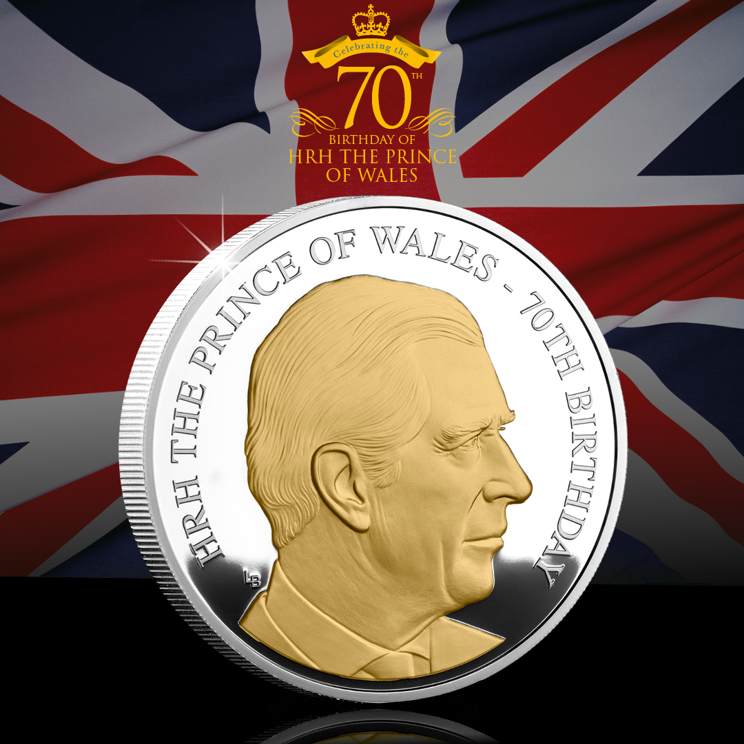 DY Princ Charles 70th Birthday Proof Coin social post images - Happy Birthday Prince Charles!