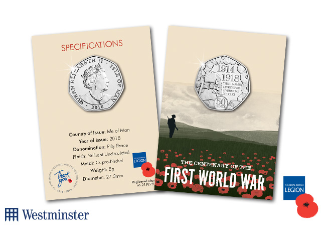 WWI Armistice RBL IOM CuNi BU 50p Coin Pack 2 - Every school child on the Isle of Man presented with very special 50p coin!