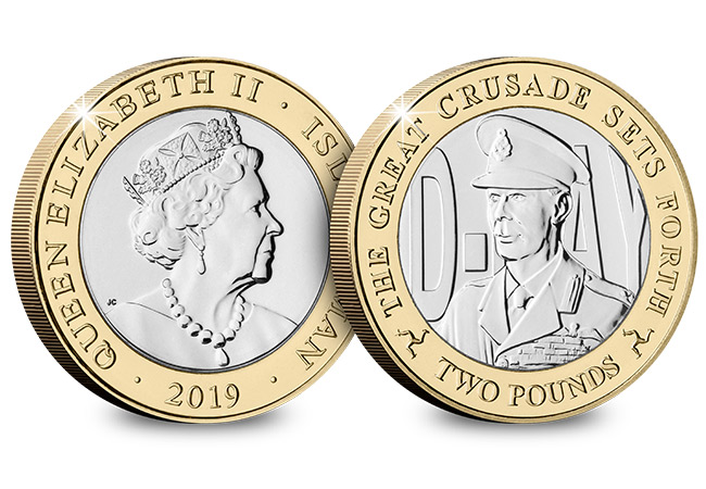 D Day 75th Leaders IOM CuNi BU Two Pounds Three Coin Set George VI 1 - New coins issued to commemorate the three leaders who inspired an Allied victory