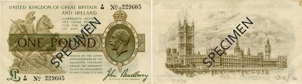 SPEC 1 3rd Series 1917 obverse reverse note - The longest bank holiday in British history...