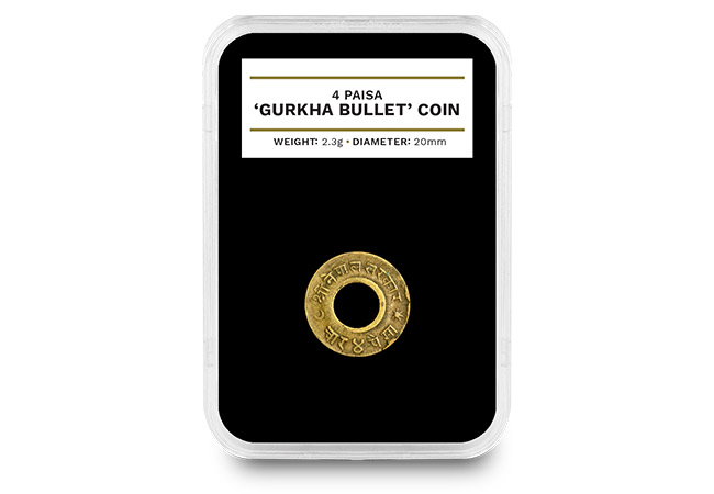 Nepal 1955 Gurkha Bullet 4 Paisa Coin in Capsule - The coins struck with WWII bullets collected from the battlefield…