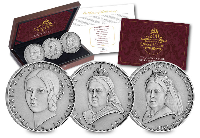 Victoria 200th Birthday IOM Silver Antique Five Pound Three Coin Set - What goes in to developing not one but THREE brand new portraits…