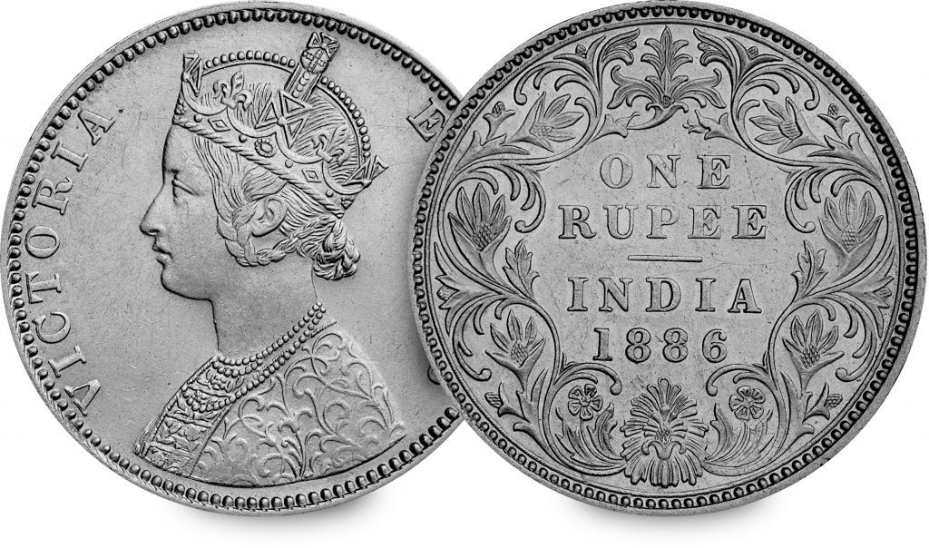 ST 1886 QV Indian Rupee Both Sides 3 1024x604 - How a young queen saw the world without leaving Europe...