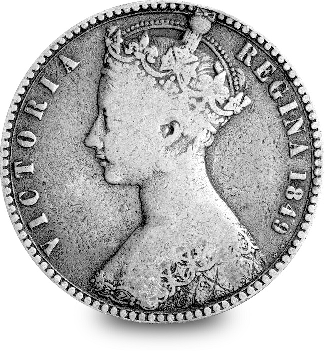 ST UK 1849 Queen Victoria Godless Florin Silver Coin Obverse 2 - From youthful queen to graceful empress - discover the five faces of Queen Victoria