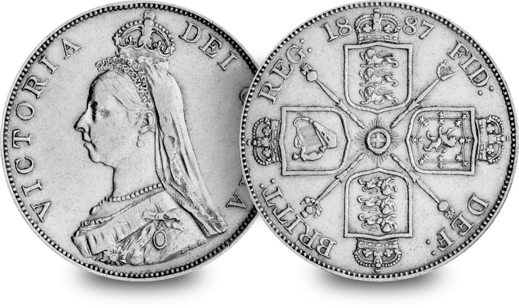 ST UK 1887 Queen Victoria Double Florin Silver Coin Both Sides 1 1024x607 - From youthful queen to graceful empress - discover the five faces of Queen Victoria
