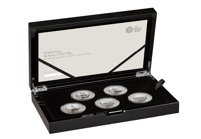 50th Anniversary of the 50p Military Silver Proof Pack product pages boxed - The 50 years of the 50p celebrations continue with a tribute to British military history