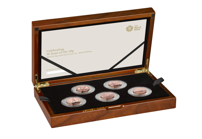 The 50th Anniversary of the 50p 2019 UK 50p Gold Proof Coin Collection military   right   UK195MGP - The 50 years of the 50p celebrations continue with a tribute to British military history