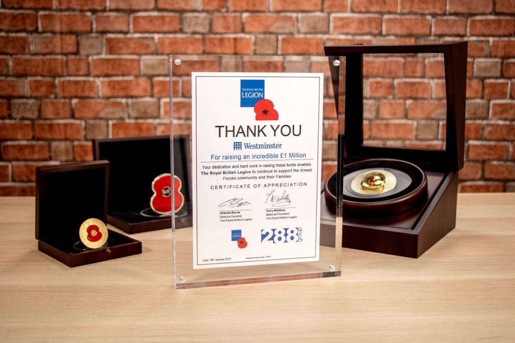288 Group RBL 1 Million Contribution Award 2 1024x682 - The Westminster Collection raises £1 Million for The Royal British Legion!