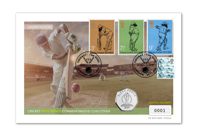 Cricket World Cup coin and stamp cover full cover - Howzat... England are CRICKET WORLD CHAMPIONS!