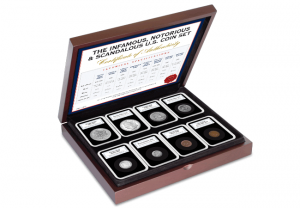 Infamous Notorious and Scandalous U.S. Coin Set product page box 300x208 - Celebrate Fourth of July with America's most iconic coins