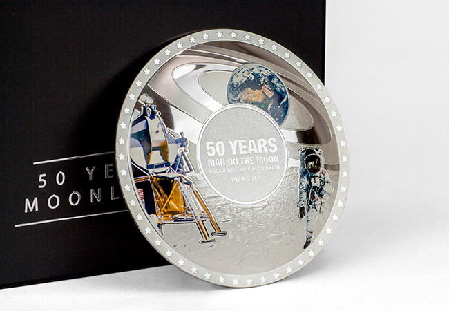 Moon Landing 50th Concave Silver Proof Coin Reverse2 - The FIVE Moon Landing 50th Anniversary Coins every collector should know about…