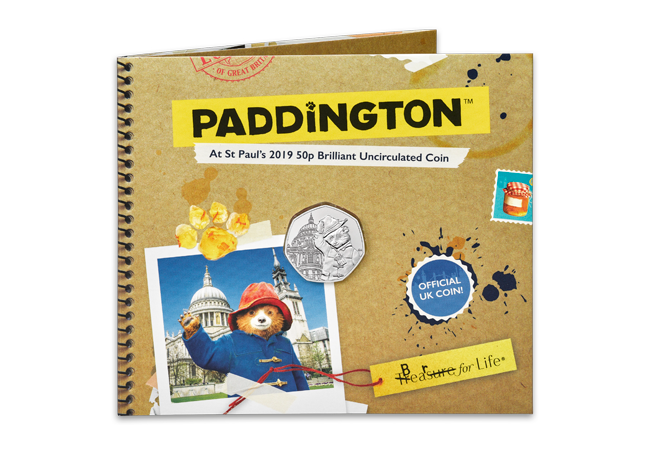 2019 Paddington at st pauls BU 50p coin product images pack front - Paddington returns in 2019 for two more adventures!