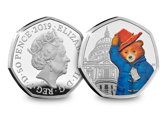 2019 Paddington at st pauls Silver proof 50p coin product images obverse reverse - Paddington returns in 2019 for two more adventures!