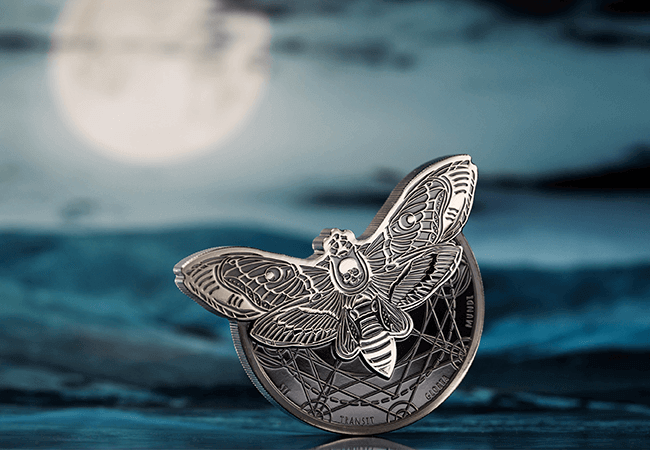 AT Silver Deaths Head Hawkmoth Coin Lifestyle 1 1 - 'Creeping' it real this Halloween? An exclusive look into some of the world's scariest coins…
