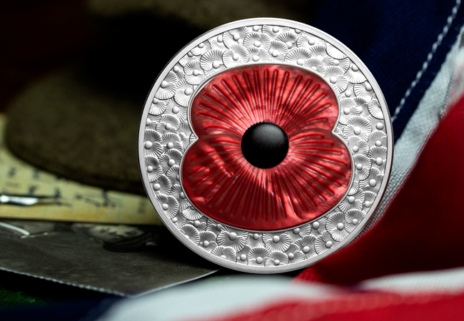 LS 2019 10 GBP 5 oz Poppy Masterpiece Coin Lifestyle 3 - The FOUR Remembrance Poppy Commemoratives every collector should know about…
