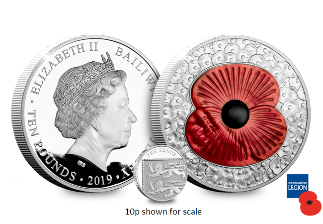 LS 2019 10 GBP 5 oz Poppy Masterpiece Coin both sides 10p - WIN! The 2019 Masterpiece Mother of Pearl Silver 5oz Poppy Coin