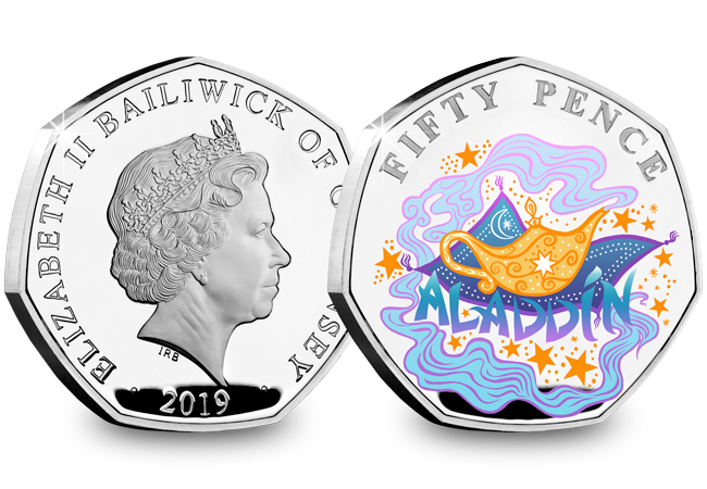 LS Guernsey 50p Pantomime Coin Aladdin Both Sides - Curtains Up! FIVE Brand New Christmas Panto 50p Coins revealed...