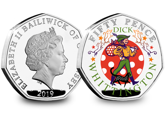 LS Guernsey 50p Pantomime Coin Dick Whittington Both Sides - Curtains Up! FIVE Brand New Christmas Panto 50p Coins revealed...