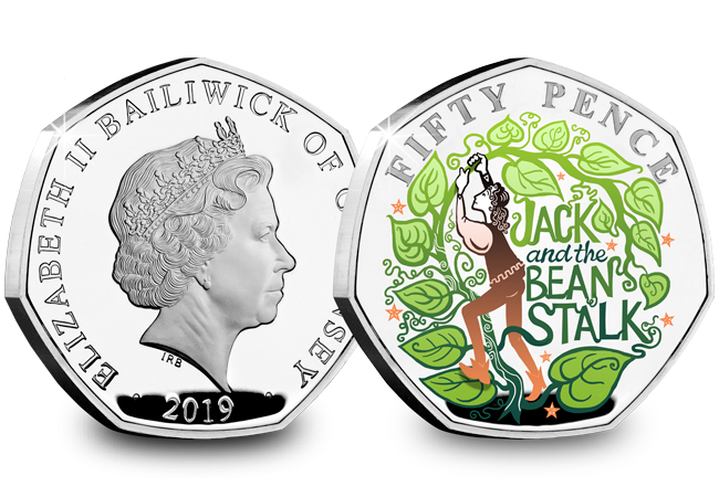 LS Guernsey 50p Pantomime Coin Jack and The Beanstalk Both Sides - Curtains Up! FIVE Brand New Christmas Panto 50p Coins revealed...