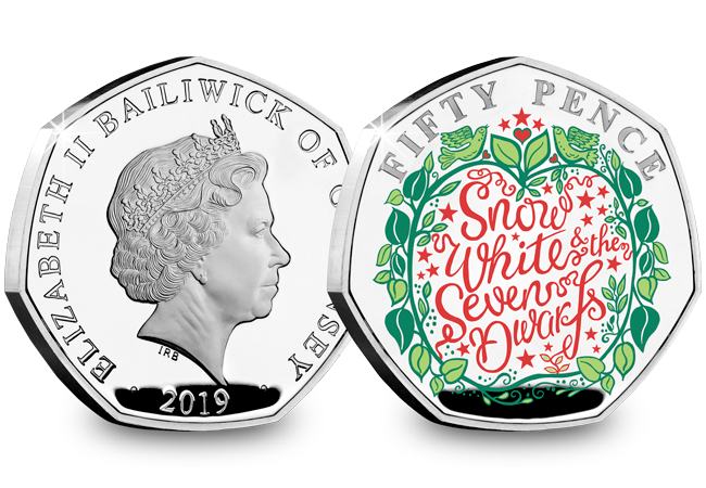 LS Guernsey 50p Pantomime Coin Snow White Both Sides - Curtains Up! FIVE Brand New Christmas Panto 50p Coins revealed...
