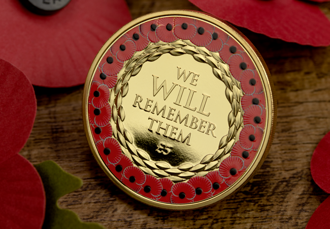 2019 Jersey five pounds Poppy Coin Gold Plated with red colour printing lifestyle - The FOUR Remembrance Poppy Commemoratives every collector should know about…