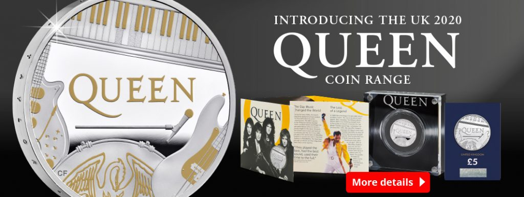 DN 2020 UK Queen £5 coin range Homepage Banner 1060x400 1 1024x386 - Why these WORLD FIRST Queen coins are full of numismatic firsts...