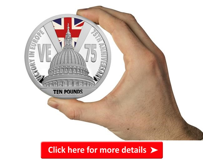 ls 2020 jersey ve day 75th st pauls cathedral 10 5oz silver proof coin with colour union jack in hand - Our top VE Day 75th Anniversary Coins revealed in special new show