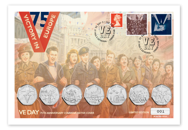 2020 VE DAY BU ultimate 50p PNC cover product images full cover - SEVEN brand new Victory 50p Coins revealed!