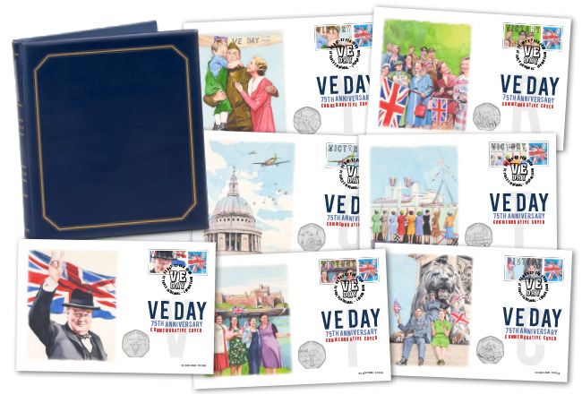 2020 VE DAY Victory 50p Covers PNC set Product images full cover collection - SEVEN brand new Victory 50p Coins revealed!