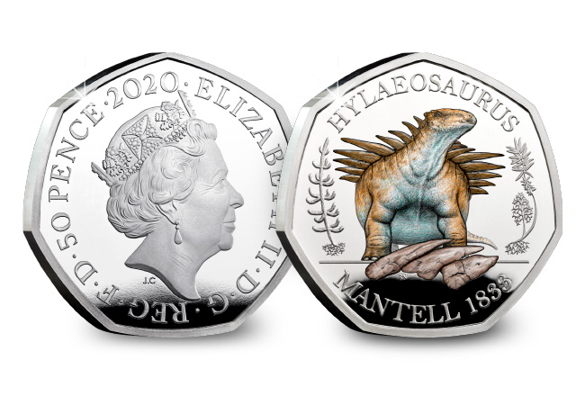 DN 2020 Hylaeosaurus Silver Colour 50p coin product images 1 - Roarsome news – Dinosaurs feature on UK 50ps!