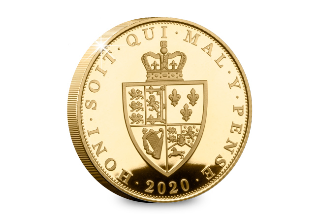 LS 2019 St Helena Spade Shield Sovereign gold proof coin rev - Celebrating the most iconic coins of King George III's reign